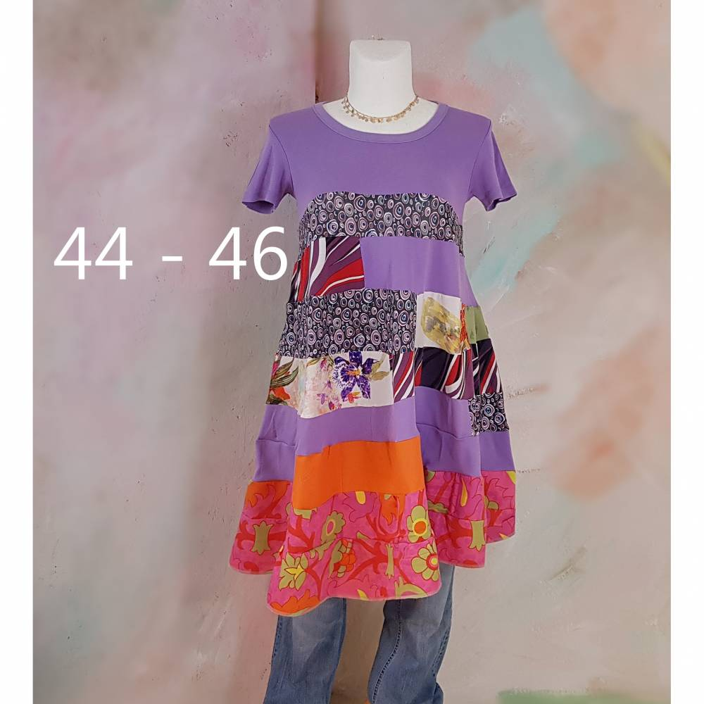 Kleid 44 - 46 Tunika Handmade Upcycling Unikat Hippikleid Midi flieder pink Kurzarm J11 Baumwollkleid Lagenlook Tunika Bild 1