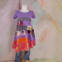Kleid 44 - 46 Tunika Handmade Upcycling Unikat Hippikleid Midi flieder pink Kurzarm J11 Baumwollkleid Lagenlook Tunika Bild 2