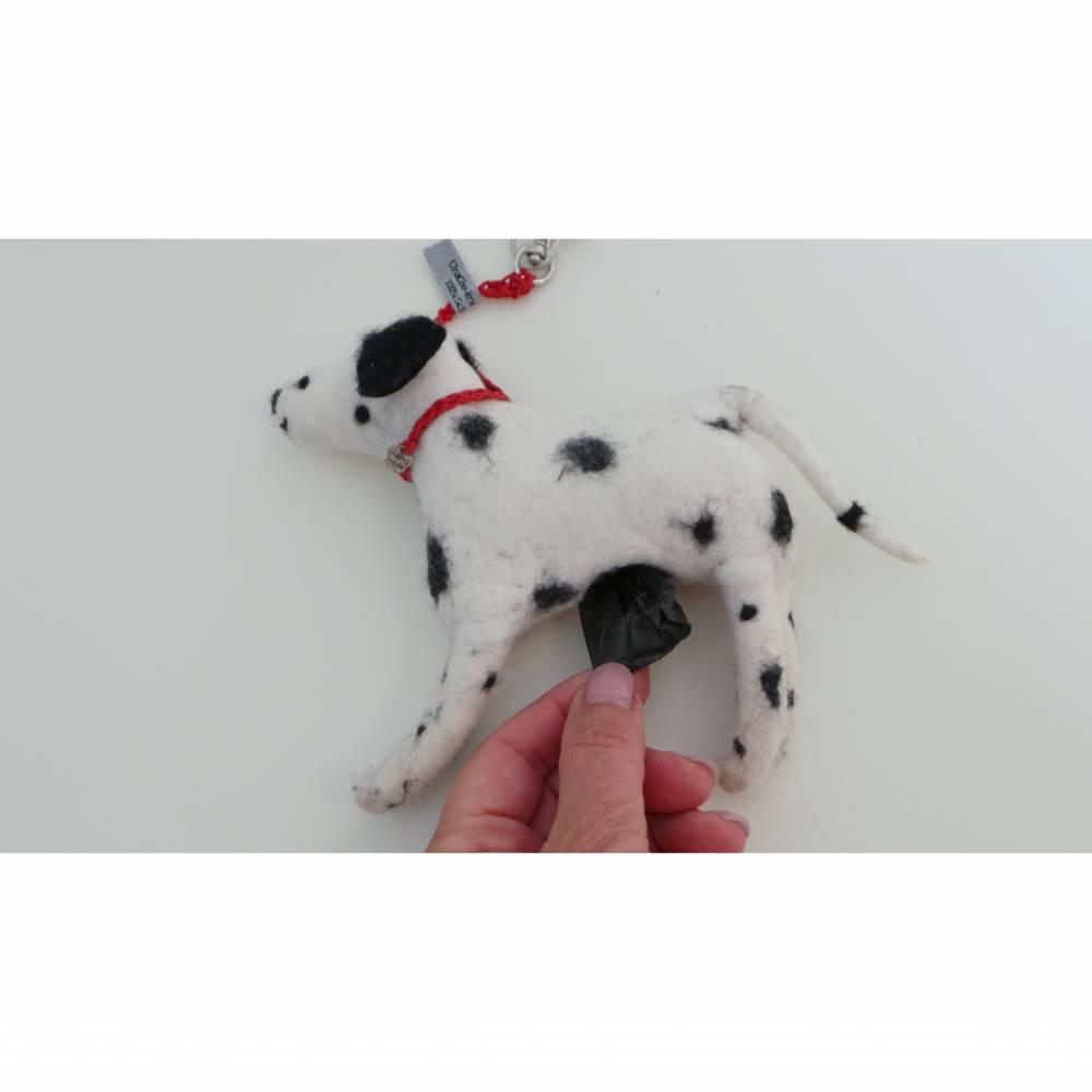 Kotbeutelspender Dalmatiner aus Filz, Gassitäschchen, Etui für Kotbeutel, Hunde Accessoires, Dalmatiner als Tasche Bild 1