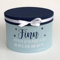 personalisierte Erinnerungskiste , Erinnerungsbox mit Namen, Geschenk zur Taufe, Taufgeschenk, Kommunion Bild 1