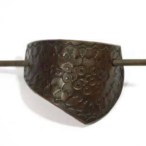 "Haarspange aus Leder ""ethno"", handgefertigte Lederspange hippie gypsy boho bohemian  Bild 5"