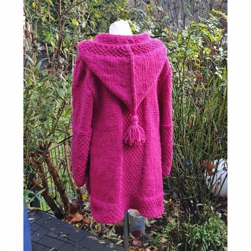 Strickmantel aus Islandwolle im Mustermix und Kapuze***XL**pink/magenta