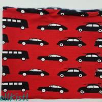 Schlauchschal / Schlupfschal / Loop / Halswärmer Gr. L aus Jersey, warm gefüttert, rot mit Autos und Bussen Bild 3