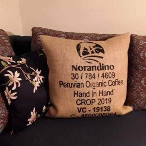"Kaffeesack Bezug ""HAND IN HAND"",ca. 50 x 50 cm Bild 1"