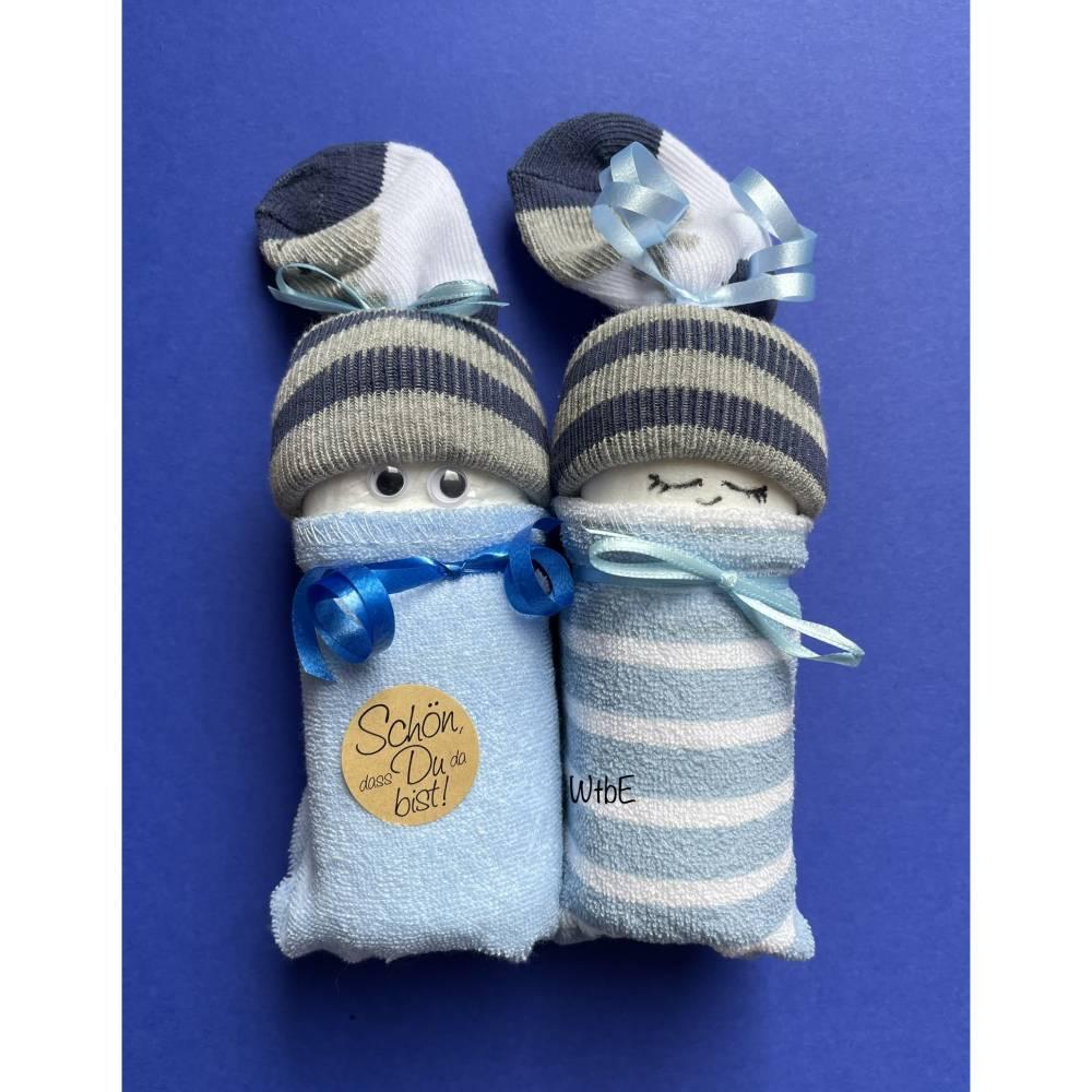 Windelpüppchen für Junge, Zugabe Geldgeschenk für Baby zur Geburt, Babygeschenk Bild 1