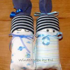 Windelpüppchen für Junge, Zugabe Geldgeschenk für Baby zur Geburt, Babygeschenk Bild 6