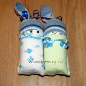 Windelpüppchen für Junge, Zugabe Geldgeschenk für Baby zur Geburt, Babygeschenk Bild 8