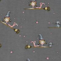 kuschliger Soft Sweat-Stoff mit kleiner Hexe Katze 50 cm x 150 cm Bild 1