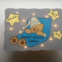 Kinderzimmerlampe LED Schlummelicht Geburtslampe Geburtsgeschenk Bild 2