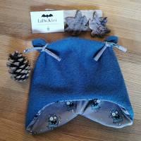 """Mütze, Walkmütze """"Garnelchen"""", blau, Wintermütze, Öhrchen, Monster Bild 1"""