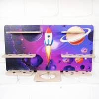 Regal Ablage für Musikbox und Toniefiguren, Aufbewahrung für Tonies, Halterung für Toniebox, Wandregal Motiv: Weltraum Bild 2