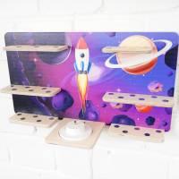 Regal Ablage für Musikbox und Toniefiguren, Aufbewahrung für Tonies, Halterung für Toniebox, Wandregal Motiv: Weltraum Bild 4