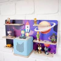 Regal Ablage für Musikbox und Toniefiguren, Aufbewahrung für Tonies, Halterung für Toniebox, Wandregal Motiv: Weltraum Bild 6
