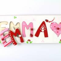 Puzzle Namen, Steckpuzzle, Puzzle Baby, Taufgeschenk, Geschenk mit Namen, Namenspuzzle, Holzpuzzle Bild 1