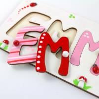 Puzzle Namen, Steckpuzzle, Puzzle Baby, Taufgeschenk, Geschenk mit Namen, Namenspuzzle, Holzpuzzle Bild 7