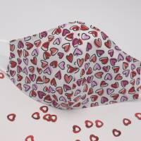Alltagsmaske mit Herzen, Behelfsmaske, Gesichtsmaske, Stoffmaske, Mund-Nasen Bedeckung, Höflichkeitsmaske Bild 1