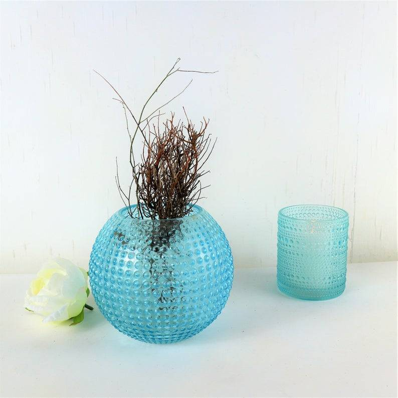 Tischdeko Blumen Vase, blau, Glas Vase, Kugel Vase, Floristikbedarf Bild 1