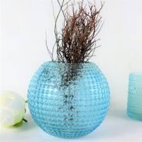 Tischdeko Blumen Vase, blau, Glas Vase, Kugel Vase, Floristikbedarf Bild 3