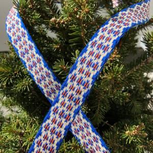Brettchengewebte Borte - Handgewebte Brettchenborte - Blau Beige Terrakotta- Mittelalter Reenactment LARP Bild 1