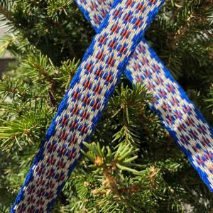 Brettchengewebte Borte - Handgewebte Brettchenborte - Blau Beige Terrakotta- Mittelalter Reenactment LARP Bild 2