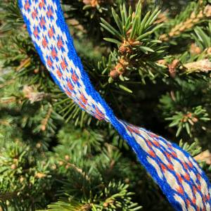 Brettchengewebte Borte - Handgewebte Brettchenborte - Blau Beige Terrakotta- Mittelalter Reenactment LARP Bild 3