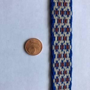 Brettchengewebte Borte - Handgewebte Brettchenborte - Blau Beige Terrakotta- Mittelalter Reenactment LARP Bild 5