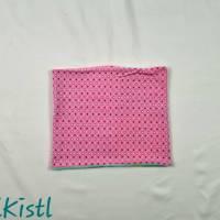 Schlauchschal / Schlupfschal / Loop / Halswärmer Gr. L aus Jersey, warm gefüttert, rosa mit kleinen Sternen Bild 1