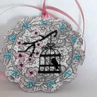 Taschenbaumler Schlüsselanhänger Asia Style Kirschblüten Vogelkäfig Bild 1