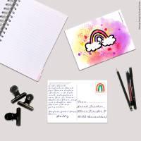 Digitale Postkarte mit dem Motiv Regenbogen in Aquarelldesign Format DIN A6 Bild 1