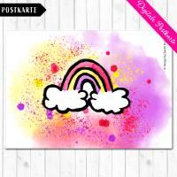 Digitale Postkarte mit dem Motiv Regenbogen in Aquarelldesign Format DIN A6 Bild 2