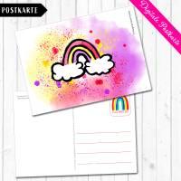 Digitale Postkarte mit dem Motiv Regenbogen in Aquarelldesign Format DIN A6 Bild 3