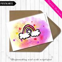 Digitale Postkarte mit dem Motiv Regenbogen in Aquarelldesign Format DIN A6 Bild 4