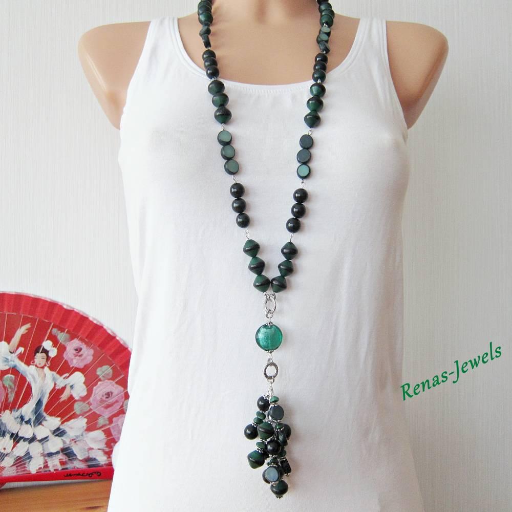 Bettelkette lang grün silberfarben Palmsamen Perlen Bettel Kette  Bild 1