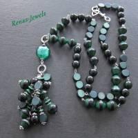 Bettelkette lang grün silberfarben Palmsamen Perlen Bettel Kette  Bild 3