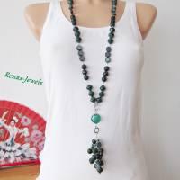 Bettelkette lang grün silberfarben Palmsamen Perlen Bettel Kette  Bild 4