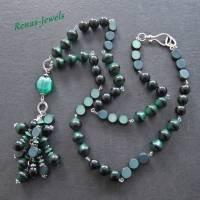 Bettelkette lang grün silberfarben Palmsamen Perlen Bettel Kette  Bild 6