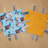 Knistertuch Cowboys hellblau / orange - gelb gestreift Bild 1