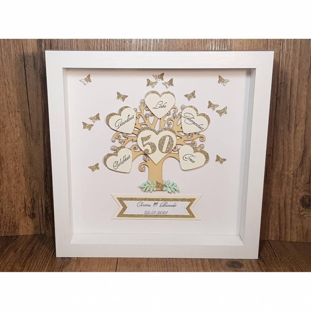 Personalisierter Bilderrahmen zur goldenen Hochzeit, originelles Geschenk zur Goldhochzeit, Ehejubiläum, Erinnerungsgesc Bild 1