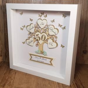 Personalisierter Bilderrahmen zur goldenen Hochzeit, originelles Geschenk zur Goldhochzeit, Ehejubiläum, Erinnerungsgesc Bild 3