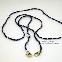 Maskenkette mit #Monogramm #blau #silber 80 cm personalisiert Bild 1