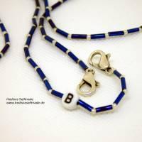 Maskenkette mit #Monogramm #blau #silber 80 cm personalisiert Bild 2