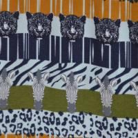 Jersey mit Zebras und Panther Safari Streifen Leomuster 50 cm x 150 cm Bild 1
