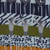Jersey mit Zebras und Panther Safari Streifen Leomuster 50 cm x 150 cm Bild 3