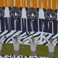 Jersey mit Zebras und Panther Safari Streifen Leomuster 50 cm x 150 cm Bild 4