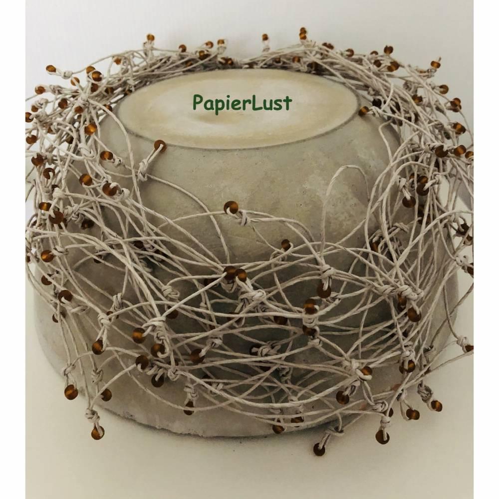 Kette aus Papiergarn beige/bernstein Bild 1