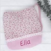Baumwoll Kita- Tasche mit Namen bestickt | Kita- Beutel mit Namen bestickt Bild 1