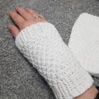 Pulswärmer handgestrickt weiß oder Wunschfarbe - Damen - Einheitsgröße - Modell 15 Bild 1