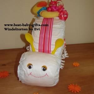 Windelschnecke mit Zubehör, Windeltorte für Mädchen, Geschenk zur Geburt Bild 4