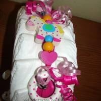 Windelschnecke mit Zubehör, Windeltorte für Mädchen, Geschenk zur Geburt Bild 8