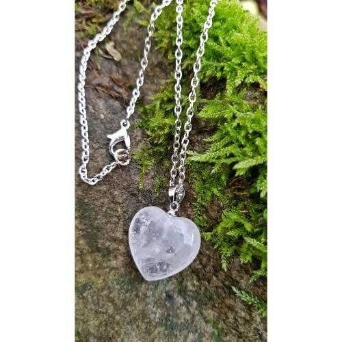 Kette Bergkristall Herz Anhänger versilbert Edelstein Gliederkette natürlich Damenkette klar Geschenkverpackung